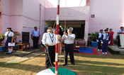 Chief Guest hoisting the national flag...